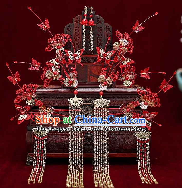 Top Chinese Traditional Bride Red Pine Butterfly Hair Comb Handmade Hairpins Wedding Hair Accessories Complete Set