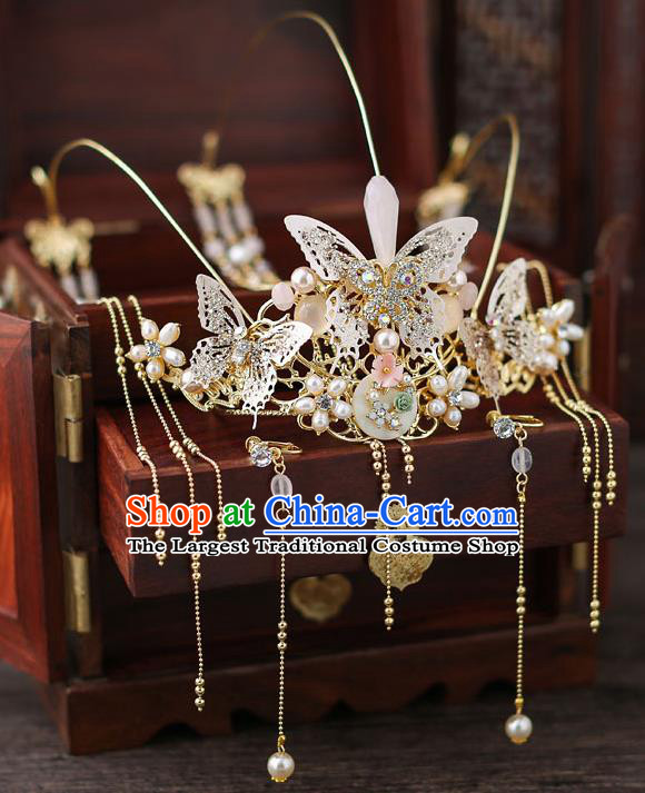 Top Chinese Traditional Bride Butterfly Tassel Hair Crown Handmade Hairpins Wedding Hair Accessories Complete Set