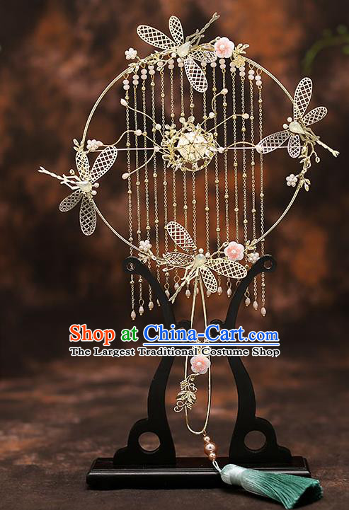 Chinese Traditional Wedding Prop Golden Dragonfly Tassel Fan Ancient Bride Palace Fans for Women