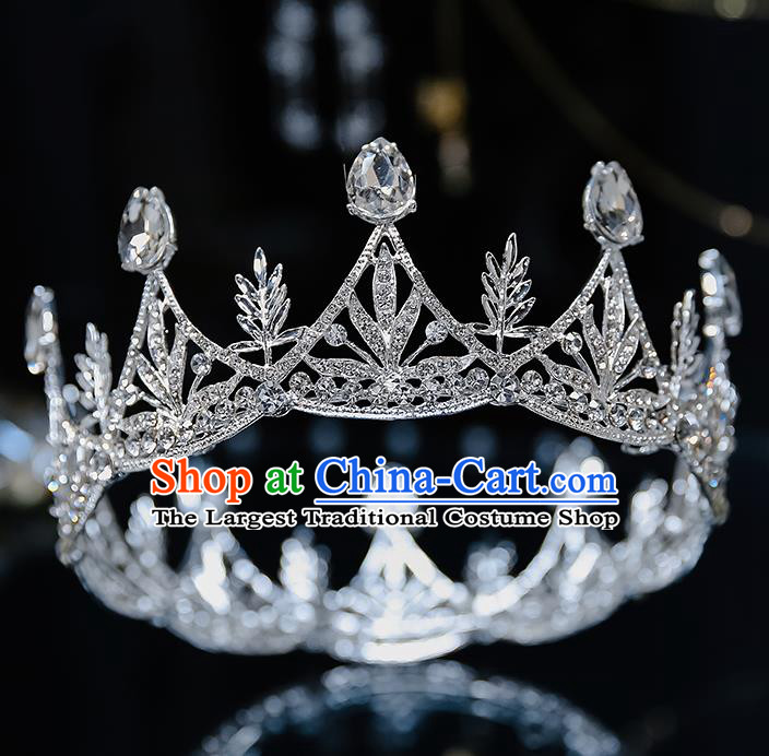 Top Grade Handmade Princess Zircon Round Royal Crown Wedding Bride Hair Accessories for Women