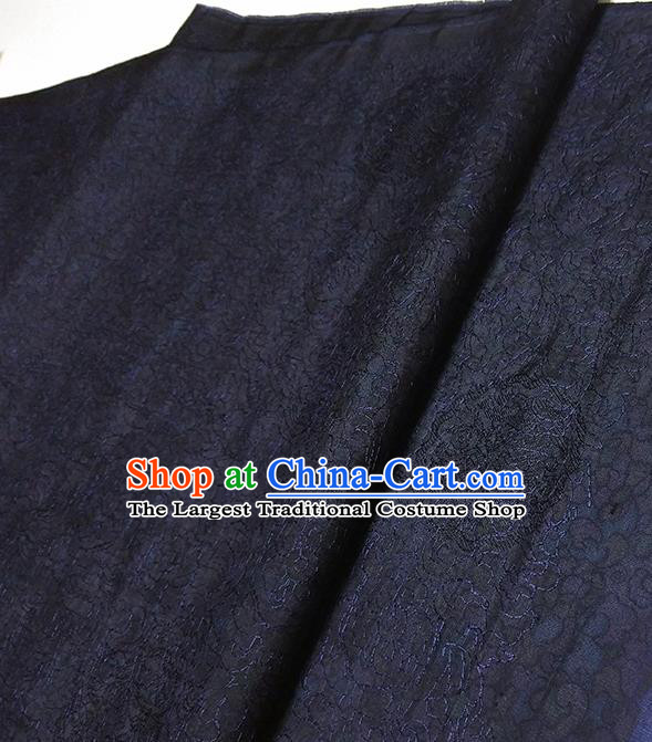 Asian Chinese Traditional Embroidered Pattern Design Navy Silk Fabric China Hanfu Silk Material