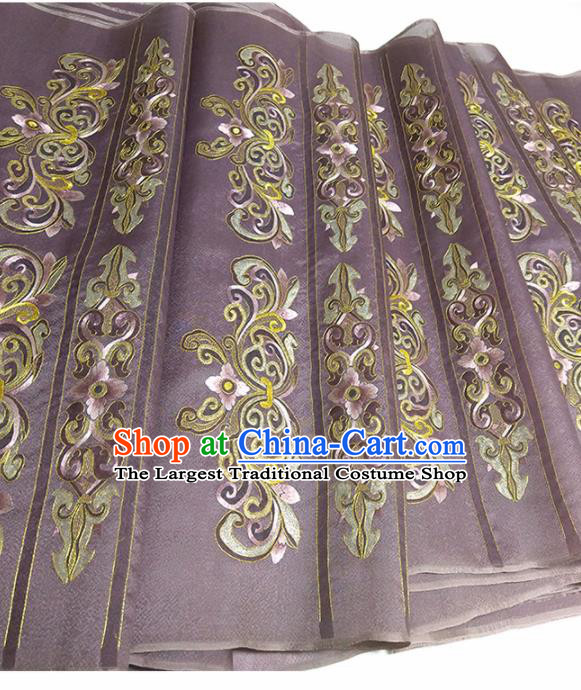 Asian Chinese Traditional Embroidered Pattern Design Deep Purple Silk Fabric China Hanfu Silk Material