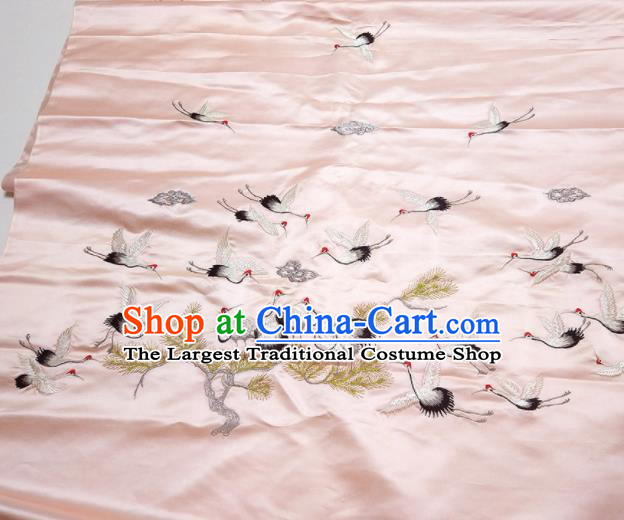 Asian Chinese Traditional Embroidered Cranes Pine Pattern Design Pink Silk Fabric China Hanfu Silk Material