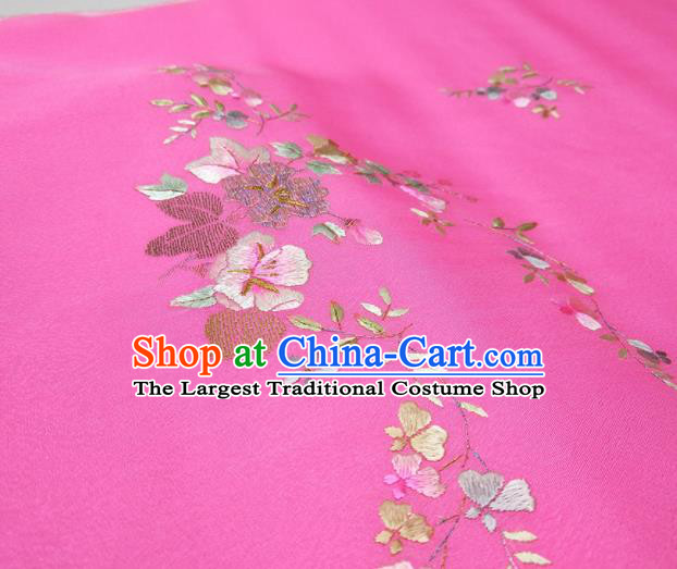 Asian Chinese Traditional Embroidered Petunia Pattern Design Rosy Silk Fabric China Hanfu Silk Material