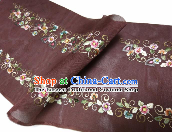 Asian Chinese Traditional Embroidered Flowers Pattern Design Brown Silk Fabric China Hanfu Silk Material