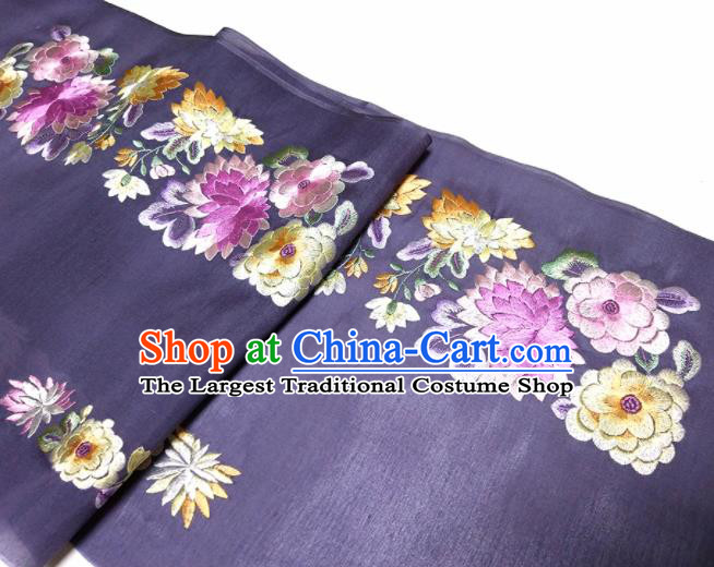 Asian Chinese Traditional Embroidered Chrysanthemum Peony Pattern Design Purple Silk Fabric China Hanfu Silk Material