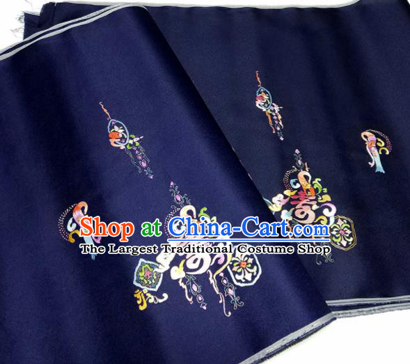 Asian Chinese Traditional Embroidered Longevity Pattern Design Navy Silk Fabric China Hanfu Silk Material