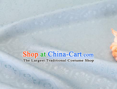 Asian Chinese Light Blue Silk Fabric Traditional Tortoiseshell Pattern Design Fabric Chinese Qipao Silk Fabric Material