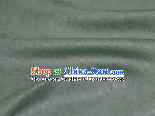Asian Chinese Mineral Green Silk Fabric Traditional Tortoiseshell Pattern Design Fabric Chinese Qipao Silk Fabric Material