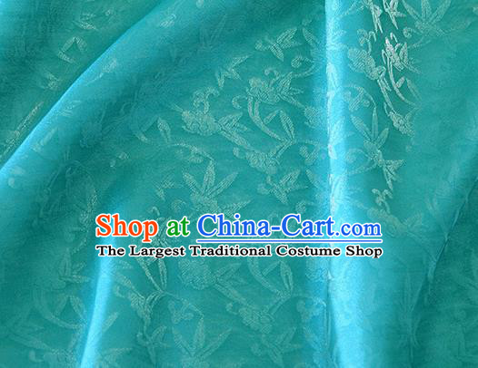 Asian Chinese Priest Frock Lake Blue Silk Fabric Traditional Pattern Design Fabric Chinese Silk Fabric Material