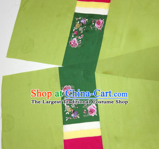 Asian Chinese Traditional Embroidered Peony Pattern Design Green Silk Fabric China Hanfu Silk Material