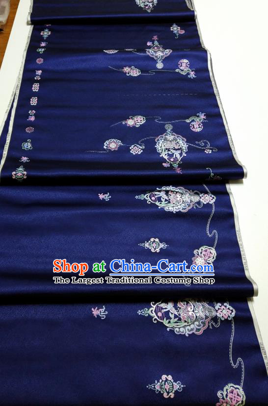Asian Chinese Traditional Embroidered Crane Pattern Design Navy Blue Silk Fabric China Hanfu Silk Material