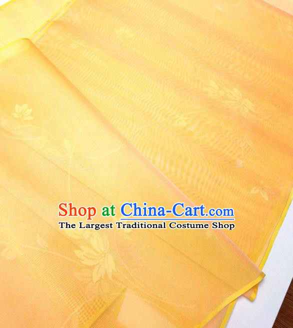 Asian Chinese Traditional Pattern Design Orange Silk Fabric China Hanfu Silk Material