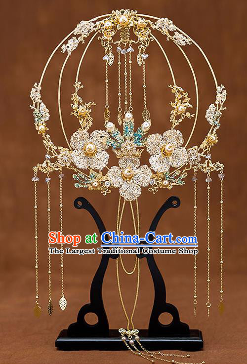 Chinese Traditional Wedding Prop Golden Flowers Tassel Round Fan Ancient Bride Palace Fans for Women