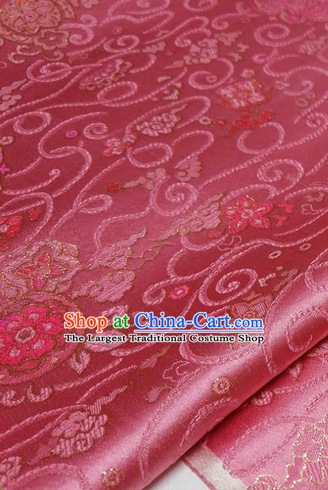 Asian Chinese Traditional Treasure Flowers Pattern Design Peach Pink Brocade Silk Fabric China Hanfu Satin Material
