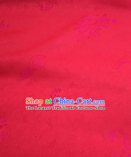 Asian Chinese Traditional Flowers Pattern Design Red Silk Fabric China Hanfu Silk Material