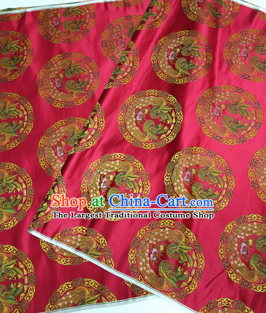 Asian Chinese Traditional Phoenix Pattern Design Red Brocade Silk Fabric China Hanfu Satin Material