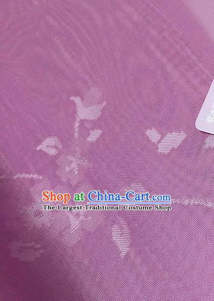 Asian Chinese Traditional Flowers Branch Pattern Design Purple Silk Fabric China Hanfu Silk Material