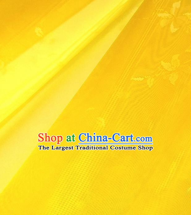 Asian Chinese Traditional Flowers Branch Pattern Design Yellow Silk Fabric China Hanfu Silk Material