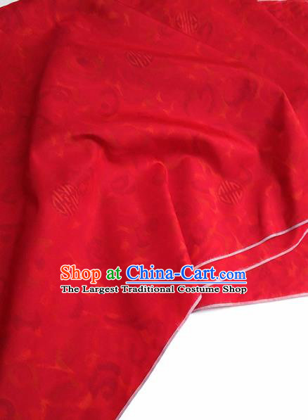 Asian Chinese Traditional Pattern Design Red Silk Fabric China Hanfu Silk Material