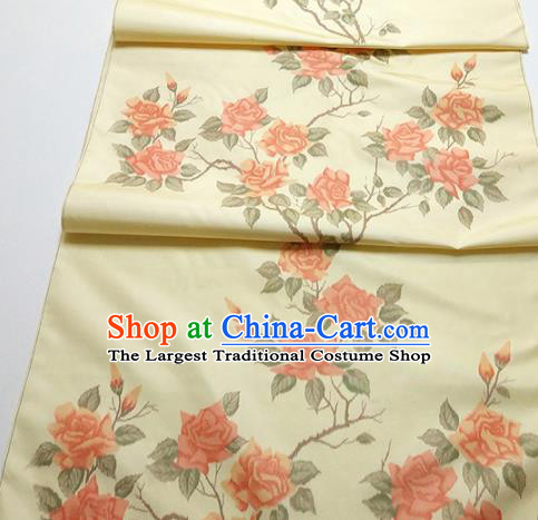 Asian Chinese Traditional Roses Pattern Design Yellow Silk Fabric China Hanfu Silk Material