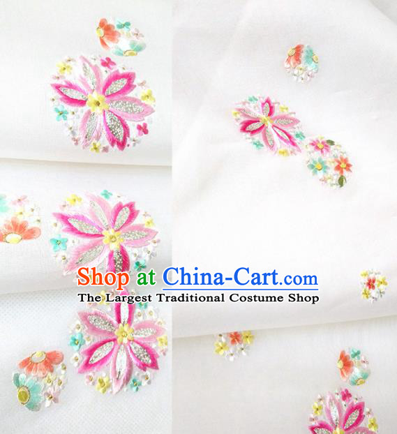 Chinese Traditional Embroidered Flowers Pattern Design White Silk Fabric Asian China Hanfu Silk Material