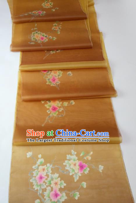Chinese Traditional Flowers Pattern Design Brown Silk Fabric Asian China Hanfu Silk Material