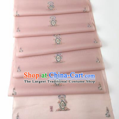 Chinese Traditional Embroidered Flowers Pattern Design Deep Pink Silk Fabric Asian China Hanfu Silk Material