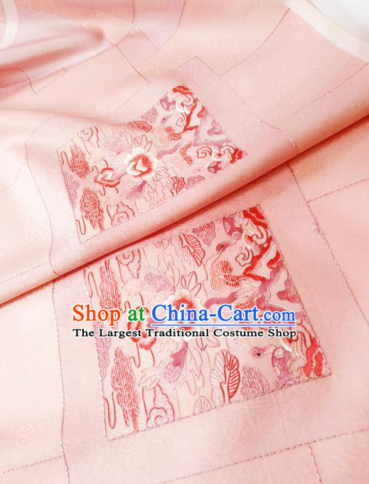 Chinese Traditional Embroidered Pattern Design Pink Silk Fabric Asian China Hanfu Silk Material
