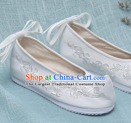 Chinese Handmade Embroidered Cloud White Bow Shoes Traditional Ming Dynasty Hanfu Shoes Princess Shoes for Women