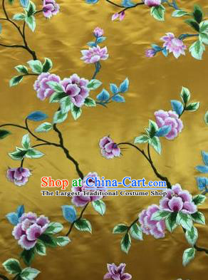 Chinese Traditional Embroidered Lily Flowers Pattern Design Yellow Silk Fabric Asian China Hanfu Silk Material