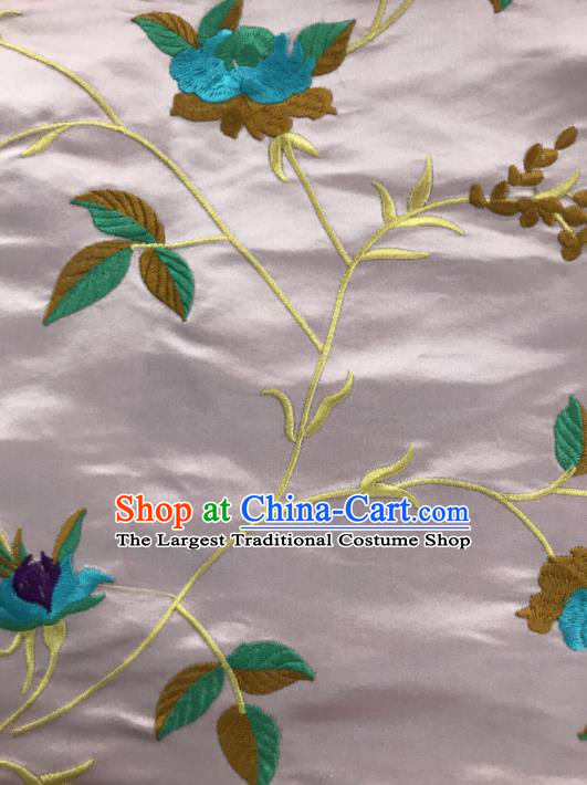 Chinese Traditional Embroidered Vine Flowers Pattern Design Pink Silk Fabric Asian China Hanfu Silk Material