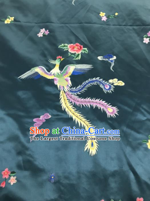 Chinese Traditional Embroidered Phoenix Peony Pattern Design Peacock Green Silk Fabric Asian China Hanfu Silk Material