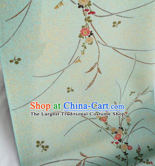 Chinese Traditional Classical Primrose Pattern Design Light Green Silk Fabric Asian China Cheongsam Silk Material