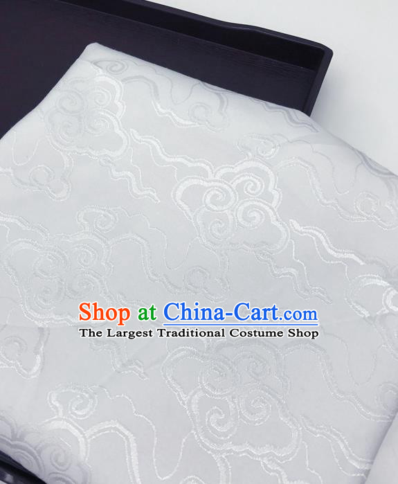 Chinese Traditional Clouds Pattern Design White Brocade Fabric Asian China Satin Hanfu Material