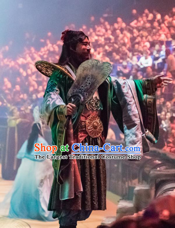 Chinese Stage Performance Qing Show Eight Immortals Han Zhongli Costumes and Headpiece Complete Set