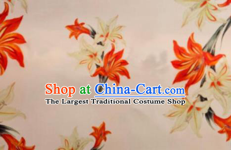 Chinese Traditional Lily Flowers Pattern Design Pink Silk Fabric Asian China Hanfu Mulberry Silk Material