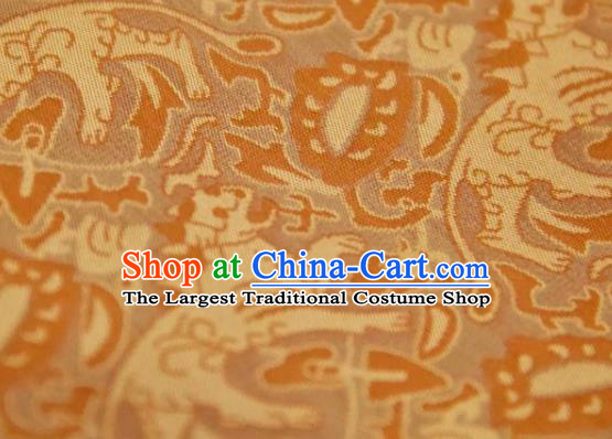 Chinese Traditional Leopard Pattern Design Ginger Silk Fabric Asian China Hanfu Mulberry Silk Material