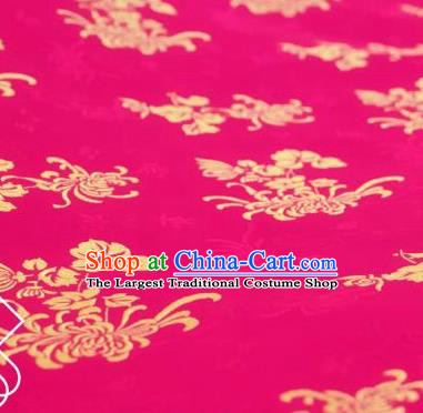 Chinese Traditional Chrysanthemum Pattern Design Rosy Silk Fabric Asian China Hanfu Jacquard Mulberry Silk Material