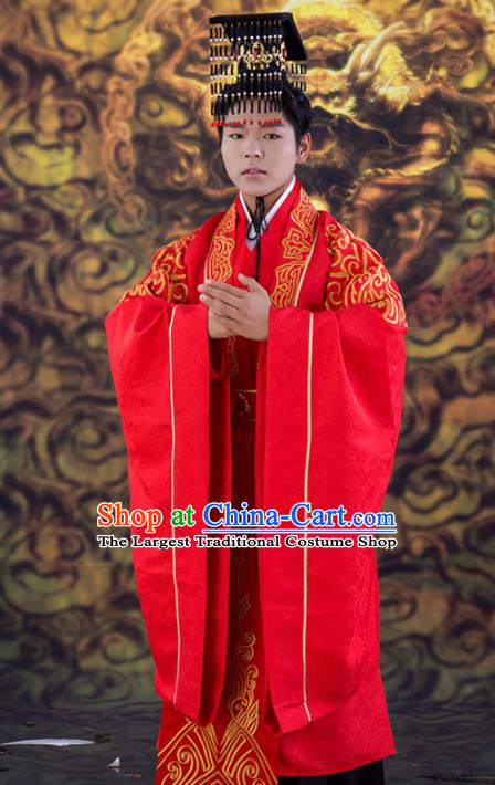 Chinese Traditional Wedding Red Clothing Ancient Han Dynasty Bridegroom Scholar Costumes for Men