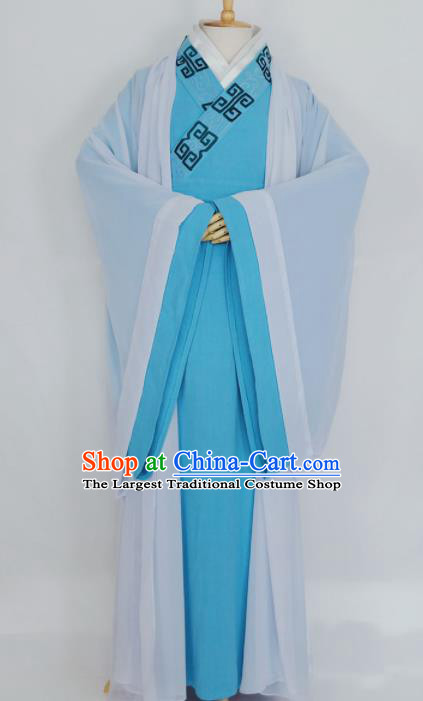 Chinese Traditional Nobility Childe Blue Clothing Ancient Song Dynasty Scholar Costumes for Men