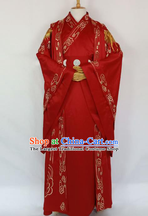 Chinese Traditional Nobility Childe Wedding Red Clothing Ancient Han Dynasty Scholar Costumes for Men