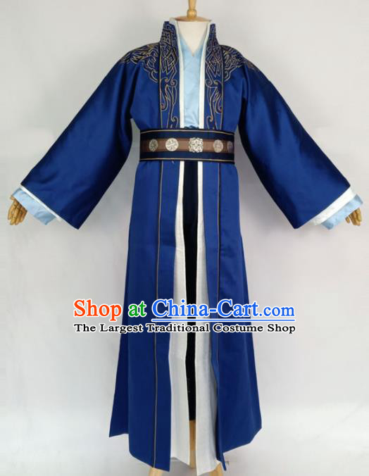 Chinese Traditional Nobility Childe Blue Clothing Ancient Han Dynasty Prince Costumes for Men
