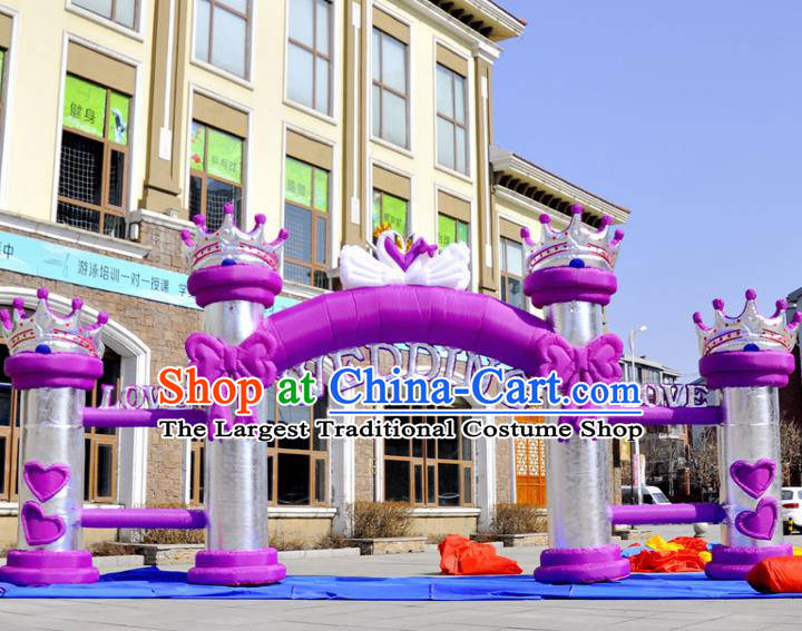 Large Christmas Day New Year Inflatable Models Wedding Purple Bowknot Inflatable Arches Archway