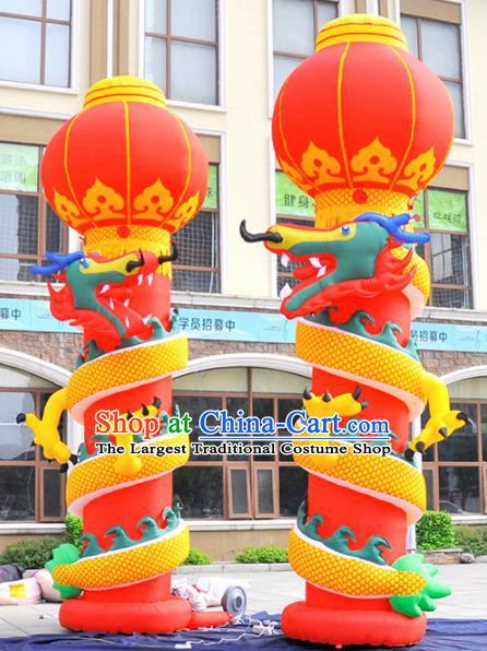 Large Chinese Moving Inflatable Dragon Red Pillar Product Models New Year Inflatable Arches