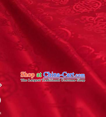 Chinese Traditional Double Fishes Pattern Design Red Silk Fabric Asian China Hanfu Jacquard Mulberry Silk Material