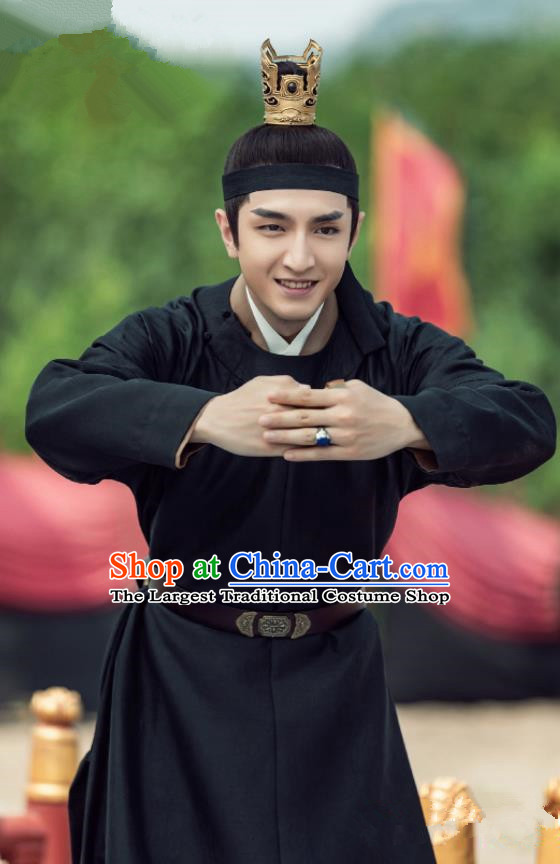 Chinese Ancient Song Dynasty Prince of Qi Xiao Dingtang Drama Royal Nirvana Jin Han Replica Costumes and Headpiece Complete Set