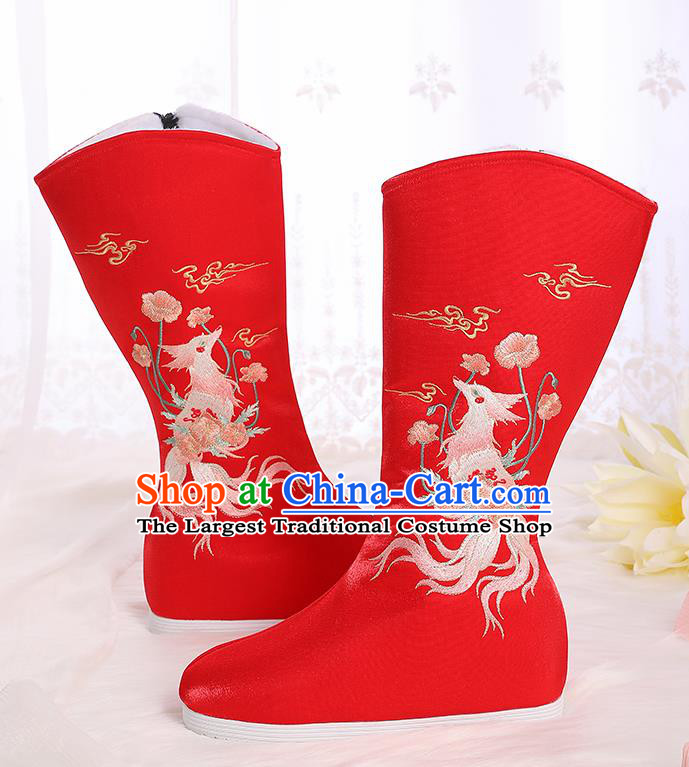 Asian Chinese Red Embroidered Fox Boots Traditional Opera Boots Hanfu Shoes for Women