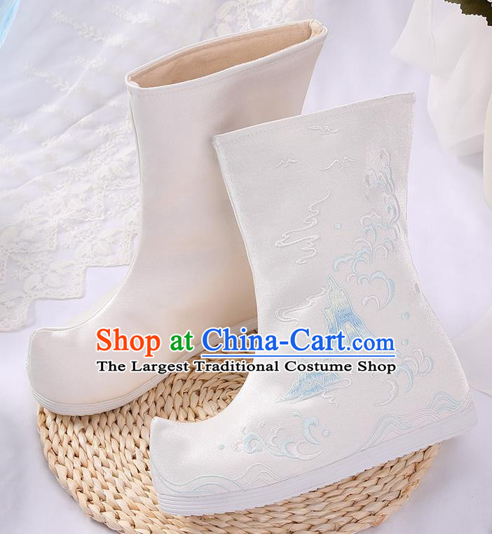 Asian Chinese White Embroidered Cloud Mount Boots Traditional Opera Boots Hanfu Shoes for Women
