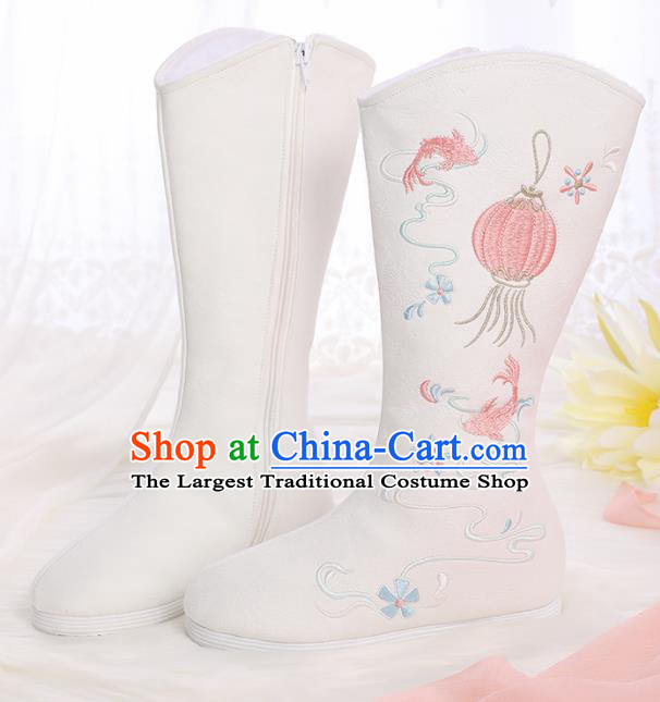 Asian Chinese White Embroidered Lantern Boots Traditional Opera Boots Hanfu Shoes for Women